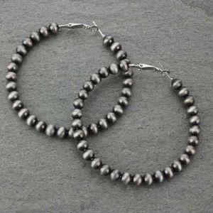 65mm Western Pearl Hoop Earrings